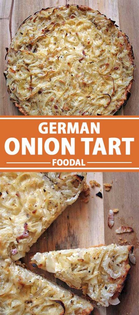 A collage of two photos showing different views of a German onion tart.
