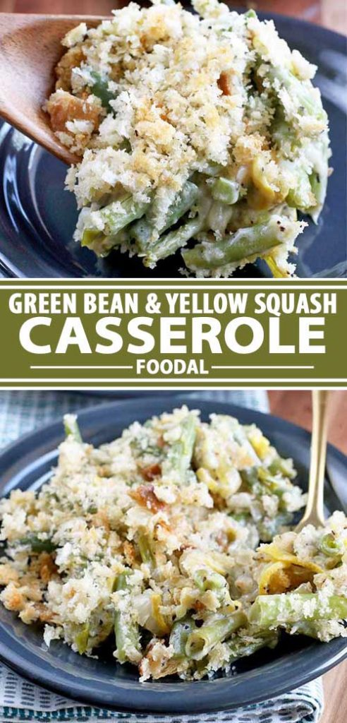 A collage of photos showing different views of a green bean and yellow squash casserole recipe.