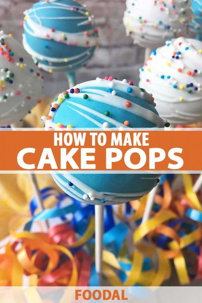 Vertical image of a blue cake ball in front of streamers.