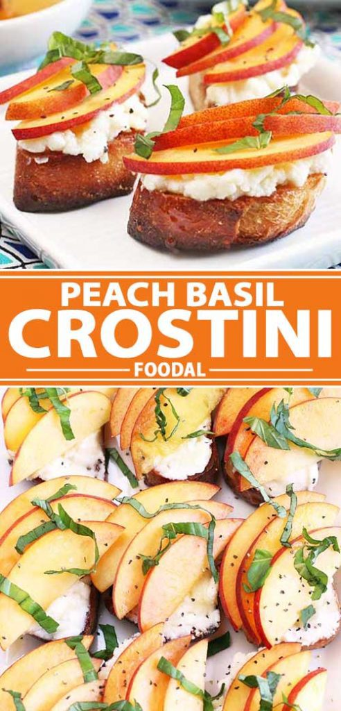 A collage of photos showing a peach basil crostini recipe.