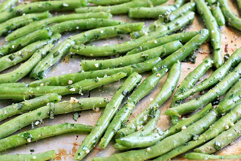 Closeup of green beans tossed in garlic and fresh herbs, arranged on a baking sheet.