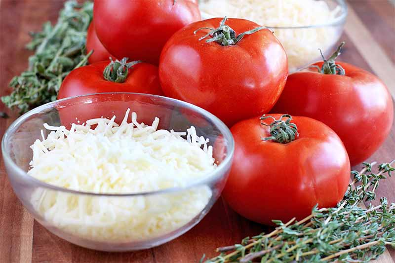 A small glass bowl of shredded cheese, five red tomatoes, fresh herbs, and a small bowl of breadcrumbs, on a brown wood surface.