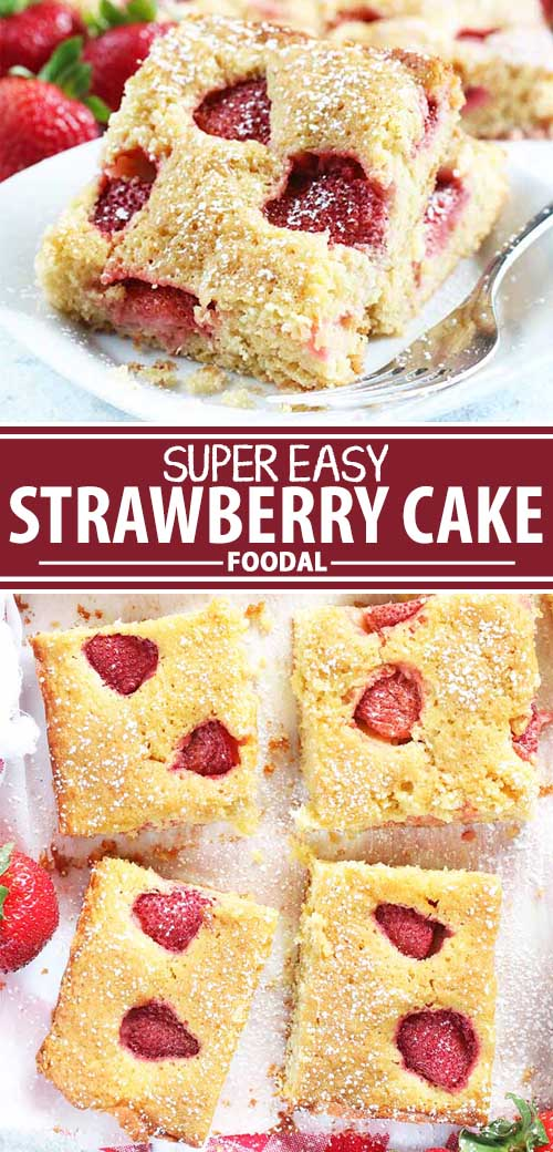 A collage of photos showing different views of a super easy strawberry cake recipe.