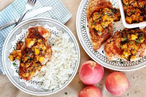 Sweet and Smoky Grilled Chicken with Peach Chipotle Sauce