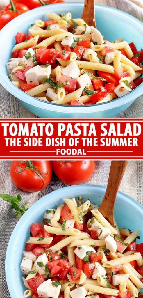 A collage of photos showing different views of a tomato pasta salad recipe.
