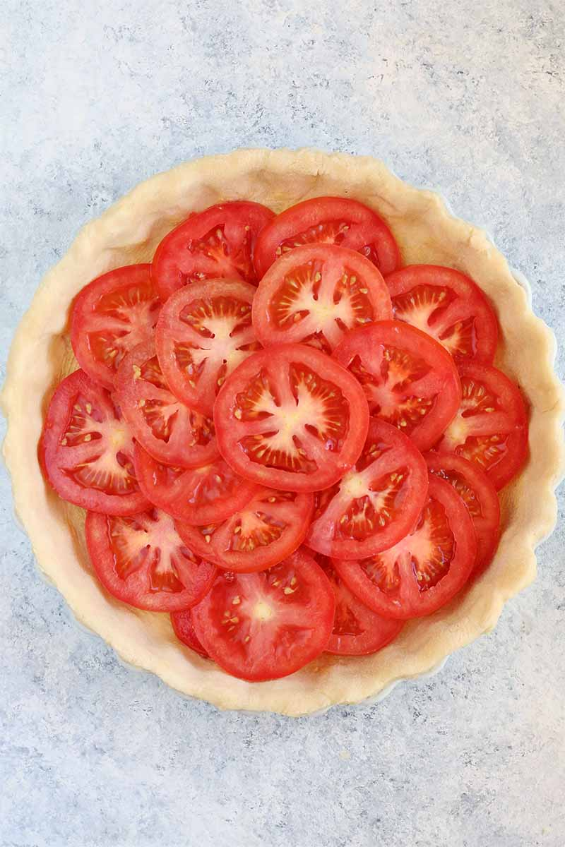 Top-down shot of sliced red tomatoes in a pie shell, in a white ceramic dish, on a white countertop with blue speckles.