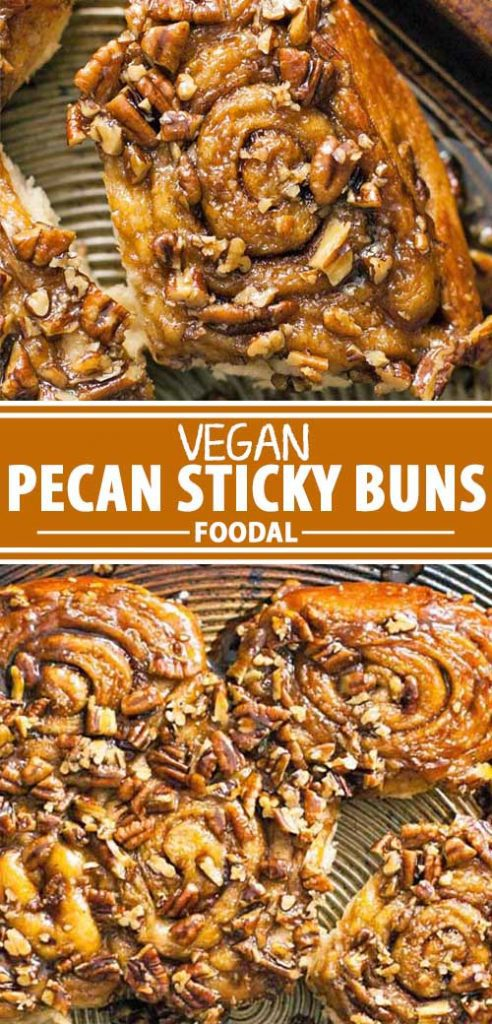 A collage of photos showing different views of a vegan pecan sticky bun recipe.