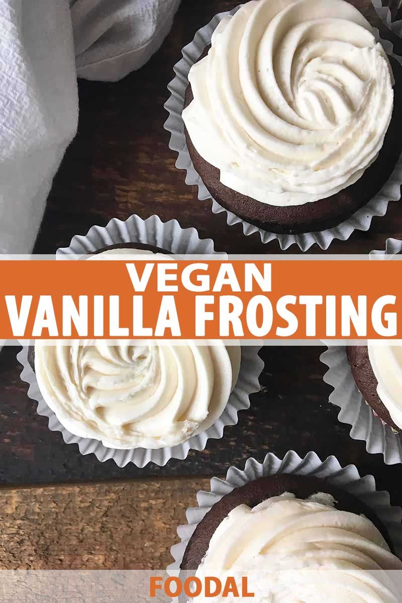 Vertical photo with vegan vanilla frosting spread on top.