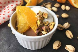 Chocolate Panna Cotta with Oranges and Pistachios