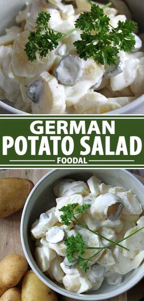 A collage of photos showing different views of a classic German potato salad recipe.