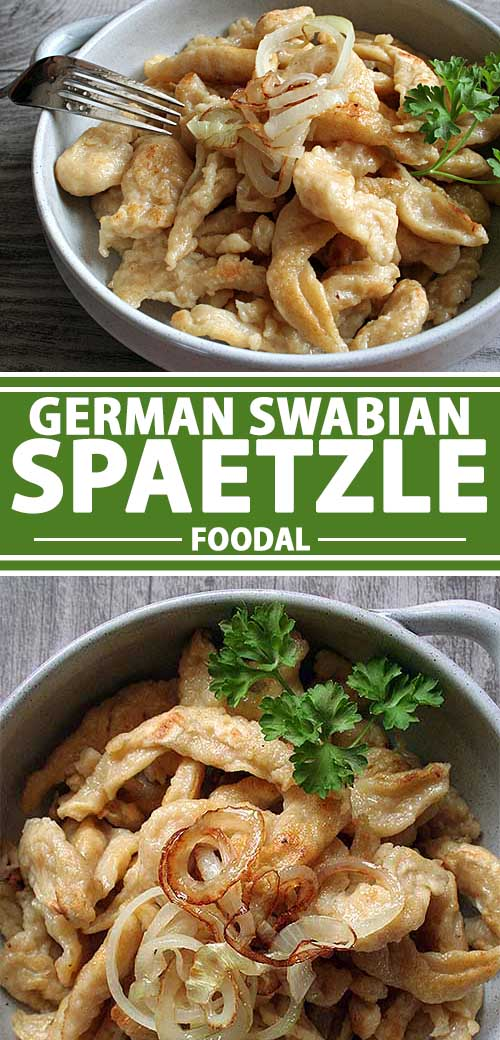 A collage of different photos showing various views of German Swabian spaetzle recipe.