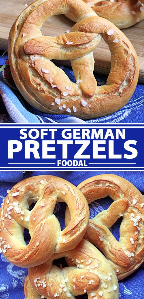 A collage of photos showing different views of German lye soft pretzel recipe.