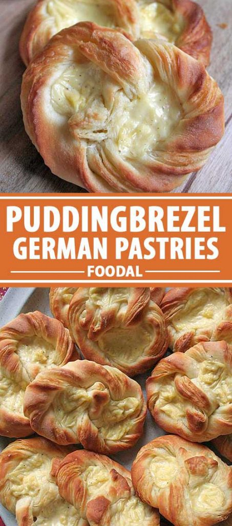 A collage of two photos showing different views of German puddingbrezel pastries.