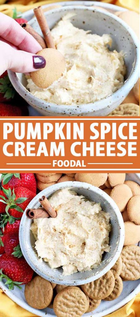 A collage of photos showing different views of a Pumpkin Spice Cream Cheese recipe.