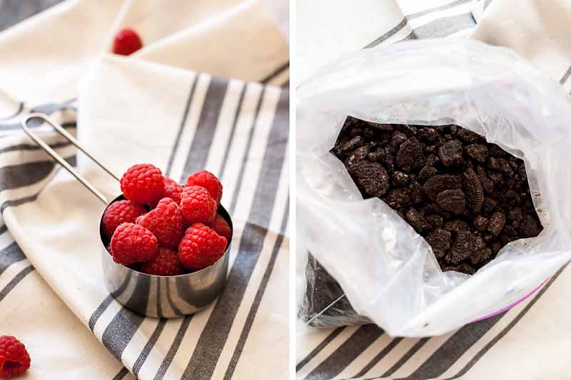 Horizontal images of a measuring cup filled with raspberries and a bag of crushed chocolate cookies.