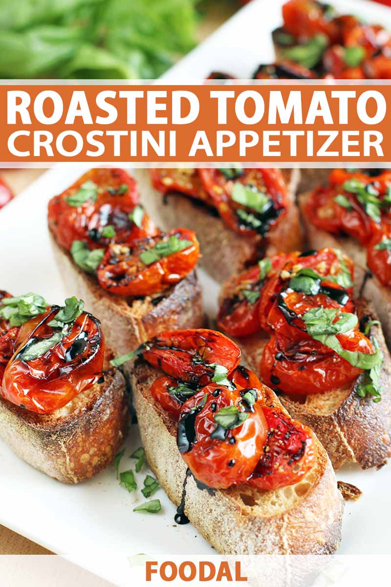 Crostini with chopped basil and a balsamic vinegar reduction, on a white rectangular plate, with a bunch of fresh herbs in soft focus in the background, printed with orange and white text.
