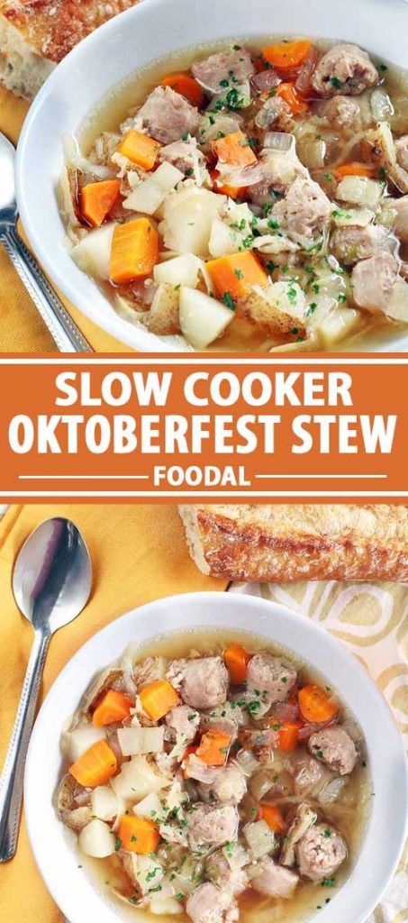 A collage of photos showing different views of slow cooker Oktoberfest stew dish.