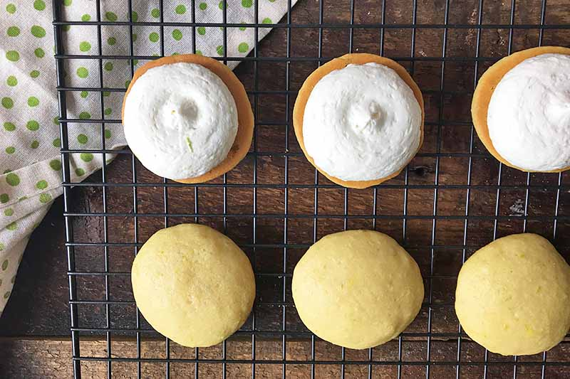 Horizontal image of mini cake rounds, three with icing on top.