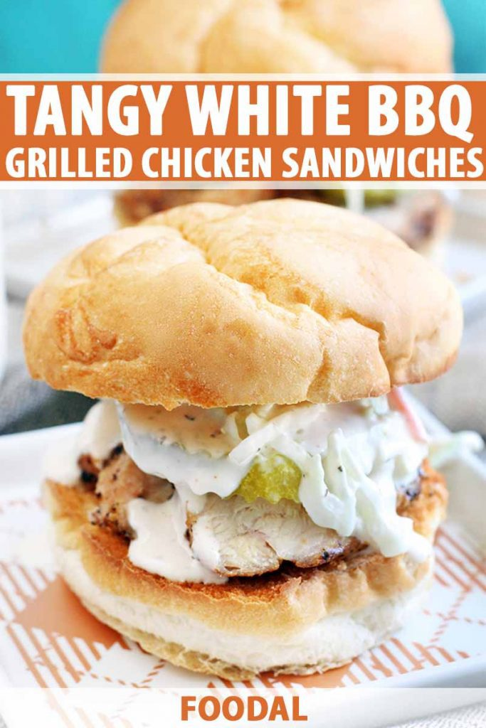 A grilled chicken sandwich with white barbecue sauce, pickles, and coleslaw is on a square white plate with an orange plaid pattern, with another sandwich and a jar of sauce in the background, against an aqua backdrop, with orange and white text.