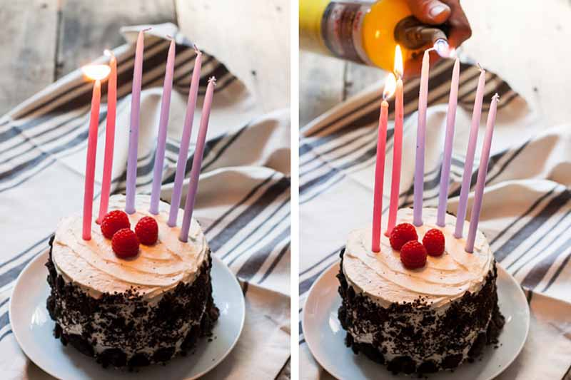 Horizontal images of colorful candles lit on top of a cake covered in cookie crumbles.