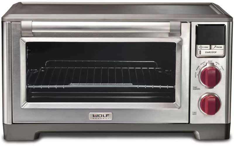 Front view of the Wolf Countertop Oven on a white, isolated background.