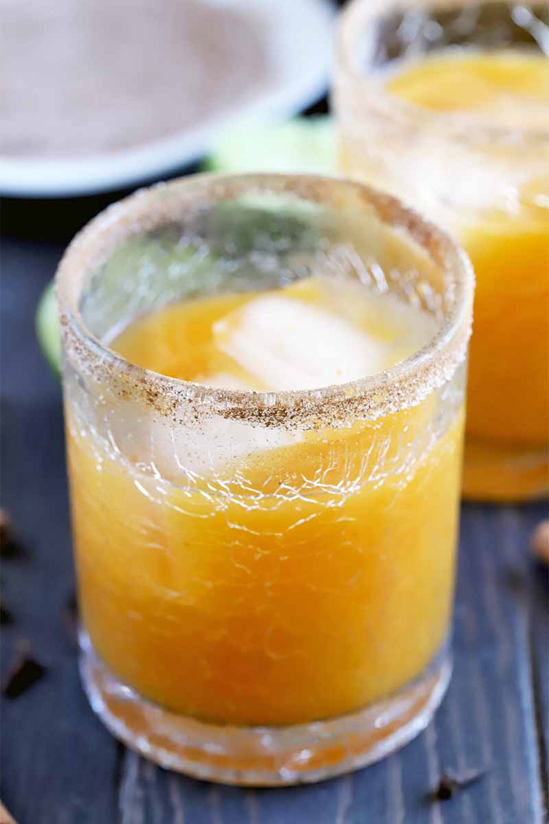 A short glass of pumpkin spice margarita with ice and a spiced sugar rim, with another identical glass in the background, with half of a lime and a saucer of spiced sugar in soft focus in the background, and scattered whole cloves on a dark brown wood surface in the foreground.