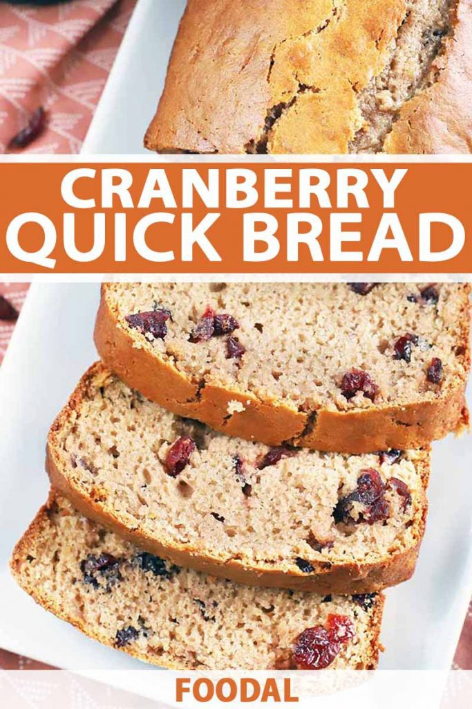 Vertical image of a loaf of cranberry quick bread cut into slices arranged on a white rectangular ceramic serving platter, printed with orange and white text.