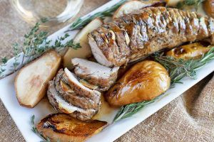 Hasselback Herb Roasted Pork Tenderloin with Pears Is the Only Dinner Party Recipe You Need this Season