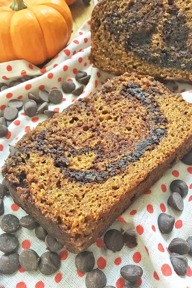 Vertical image of one slice of pumpkin bread with swirls.