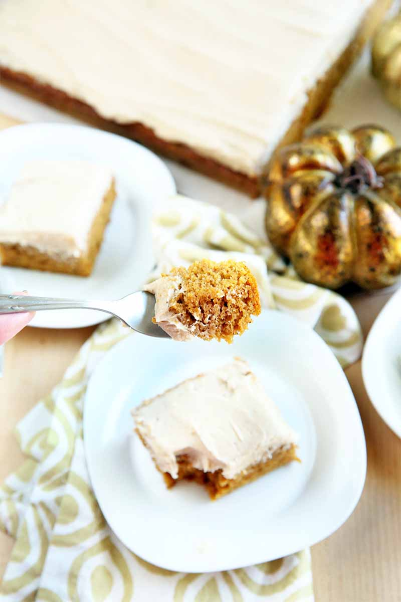 A forkful of pumpkin cake with vanilla frosting is being held up to the camera, with square plates of the dessert, the full slab, and two golden-colored decorative pumpkins in the background, with a white and gold patterned cloth on a beige background.