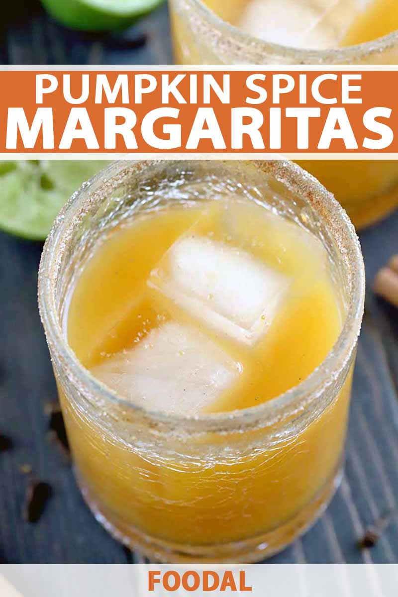 Vertical oblique image of a glass with a sugar rim filled with a pumpkin spice margarita and ice, with another identical glass in the background, next to half of a juiced lime, with scattered whole cloves and cinnamon sticks on a dark brown wood surface, printed with orange and white text.