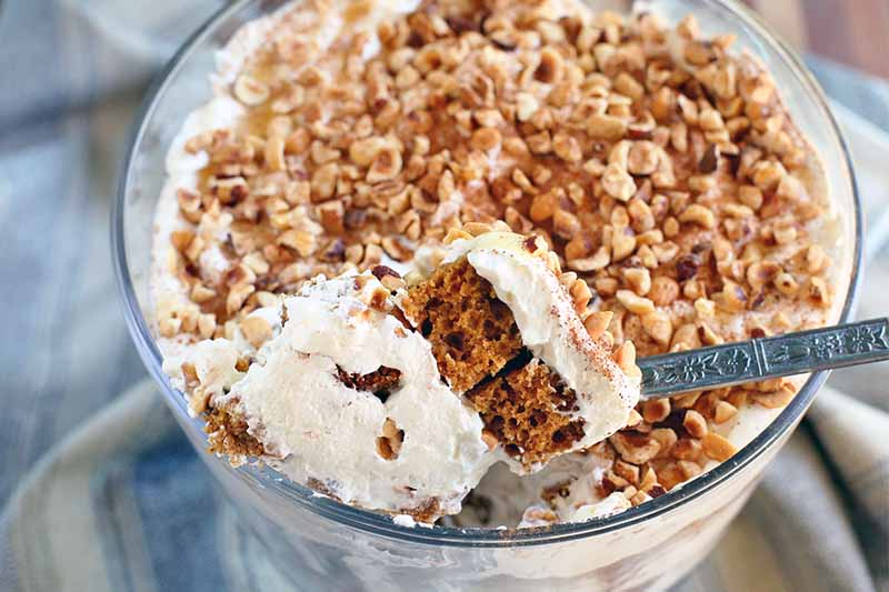 A large serving spoon scoops a portion of pumpkin trifle with whipped cream and toasted hazelnuts out of a large glass pedestal serving dish, on a gathered blue and gray striped cloth.
