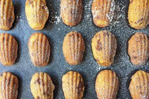 Brown Butter Pumpkin Madeleines with Candied Pecans