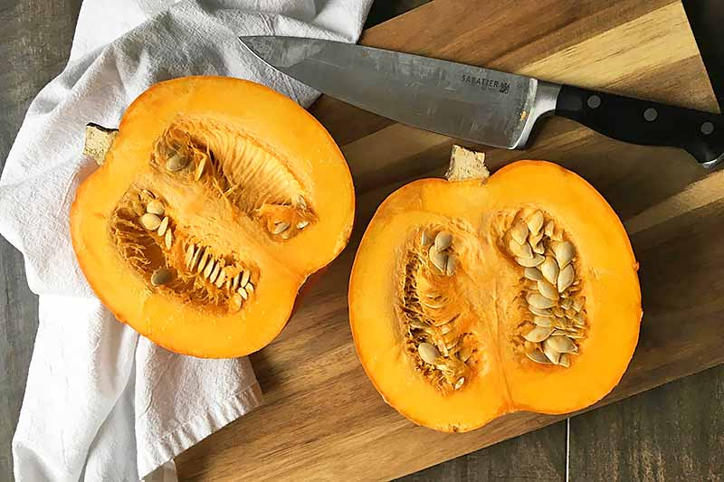 Horizontal image of an orange squash sliced in half next to a chef's knife.