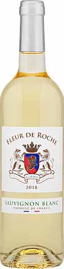 A bottle of Fleur de Roche Sauvignon Blanc wine, isolated on a white background.
