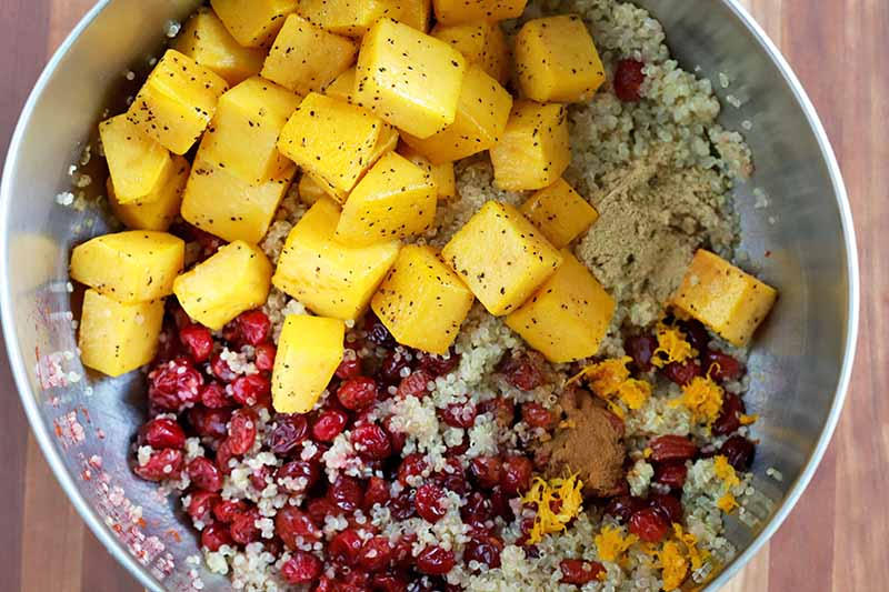 Overhead shot of a bowl of cubed cooked butternut squash, roasted cranberries, spices, and quinoa, on a brown background.