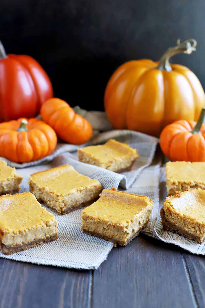 Vertical image of scattered dessert squares on a towel surrounded by pumpkins of assorted sizes.