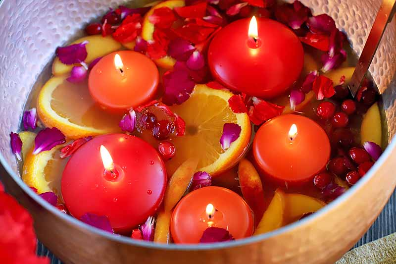 Horizontal image of a large bowl with floating red candles, fruit, and flower petals.