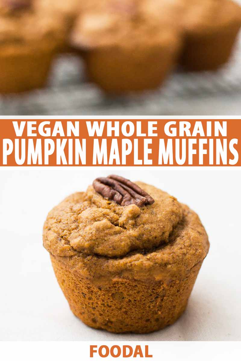 Vertical image of one muffin with more muffins on a cooling rack in the background with white text on an orange background.