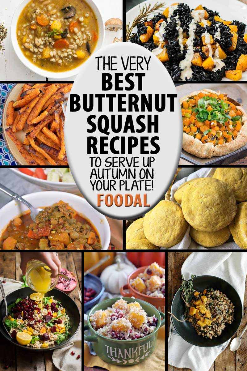 A collage of photos showing different butternut squash recipes.