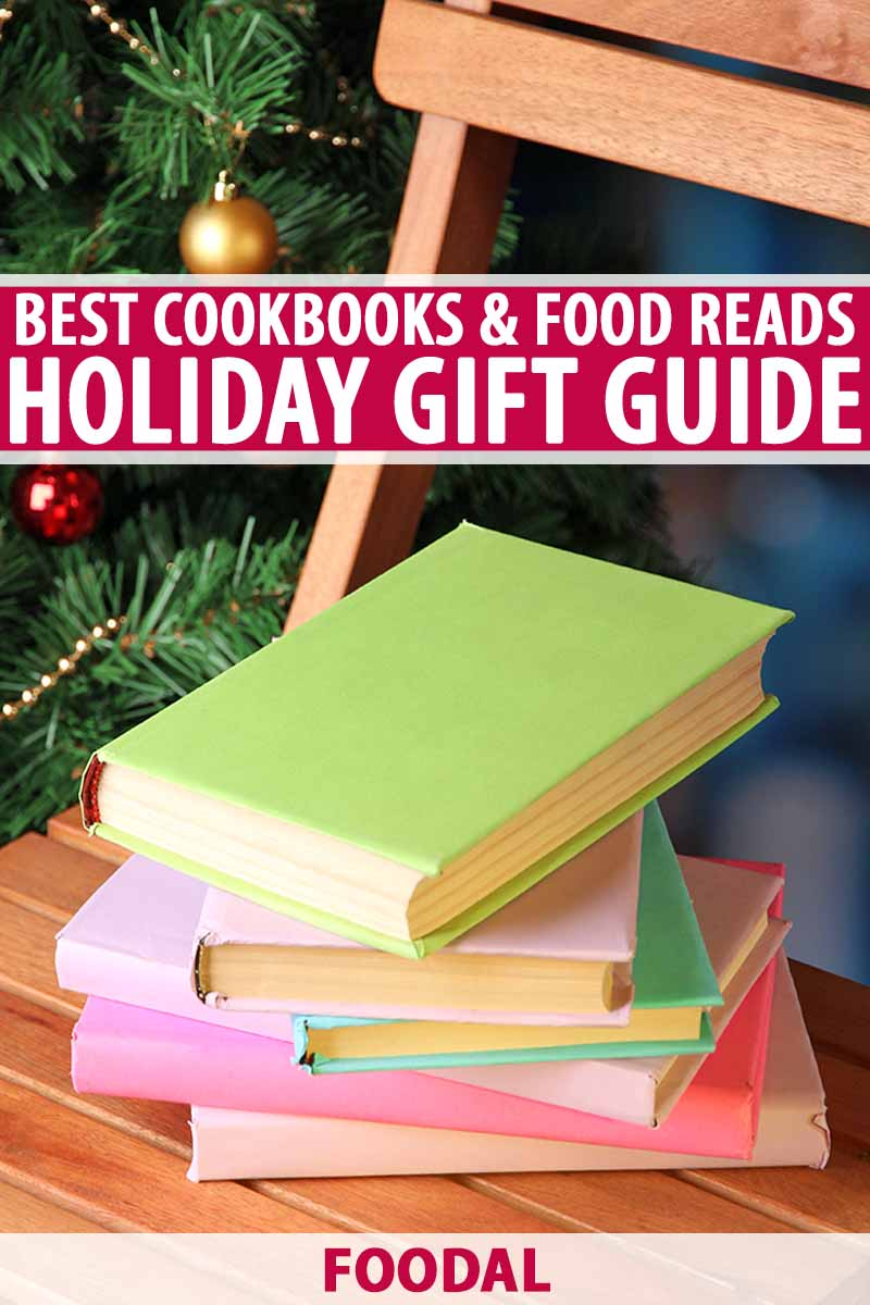 Vertical image of a pile of books with pastel green, purple, pink, and blue covers on a wooden folding chair, in front of an evergreen tree decorated for the holidays, printed with red and white text.