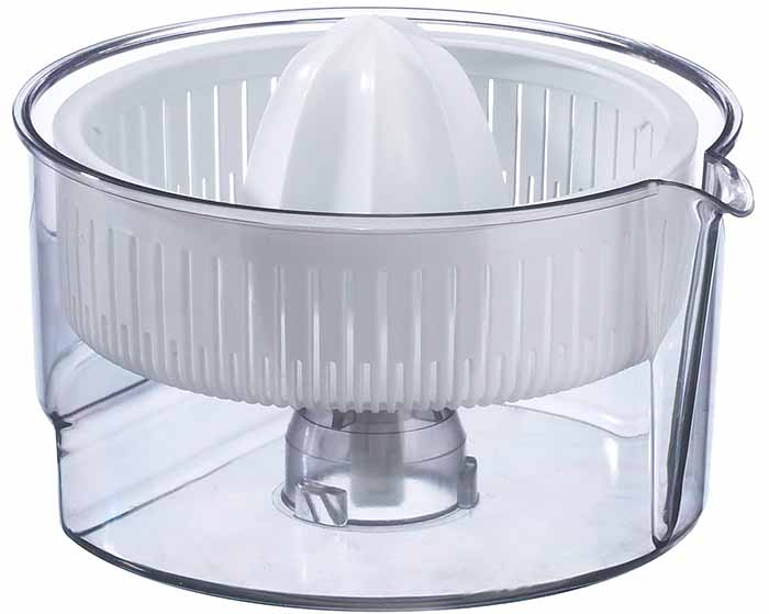 Image of a citrus juicer with a white plastic head and a clear plastic base.