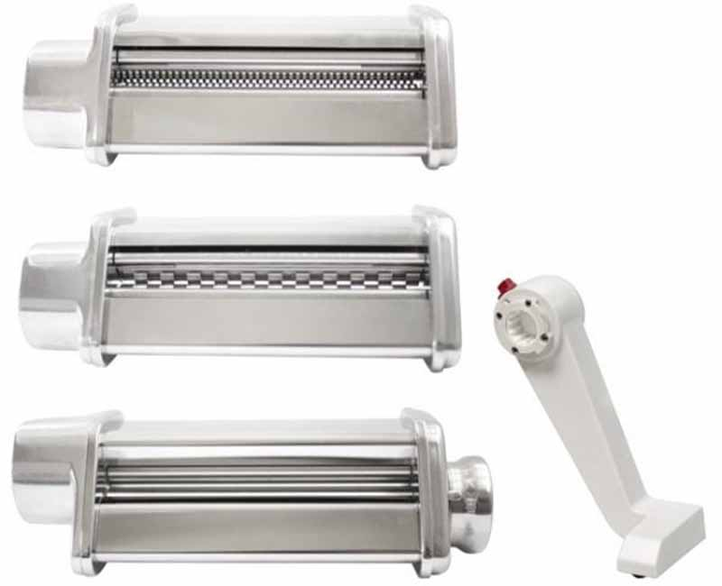 Image of three metal pasta maker accessories and a white handle.