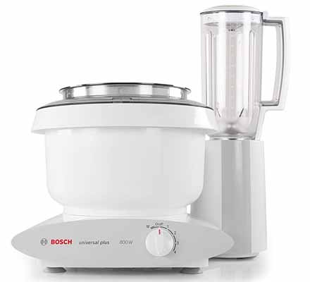 Stand mixer with a blender next to it.