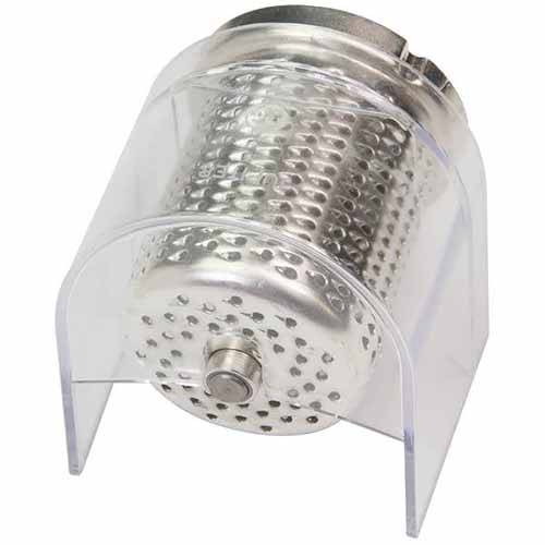 Image of a small grater attachment on a white background.