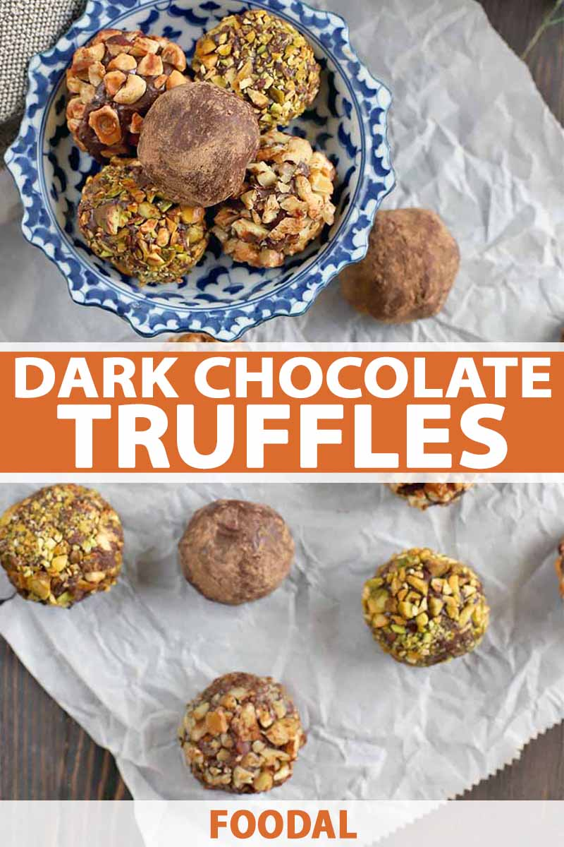 Vertical image of chocolate truffles coated in nuts and cocoa powder in a blue and white candy dish and scattered on a crinkled piece of white parchment paper, on a dark brown wood background, printed with orange and white text.