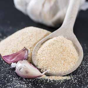 A close up of a spoon full of garlic powder with a couple of purple and white fresh cloves of garlic sitting right next to it.