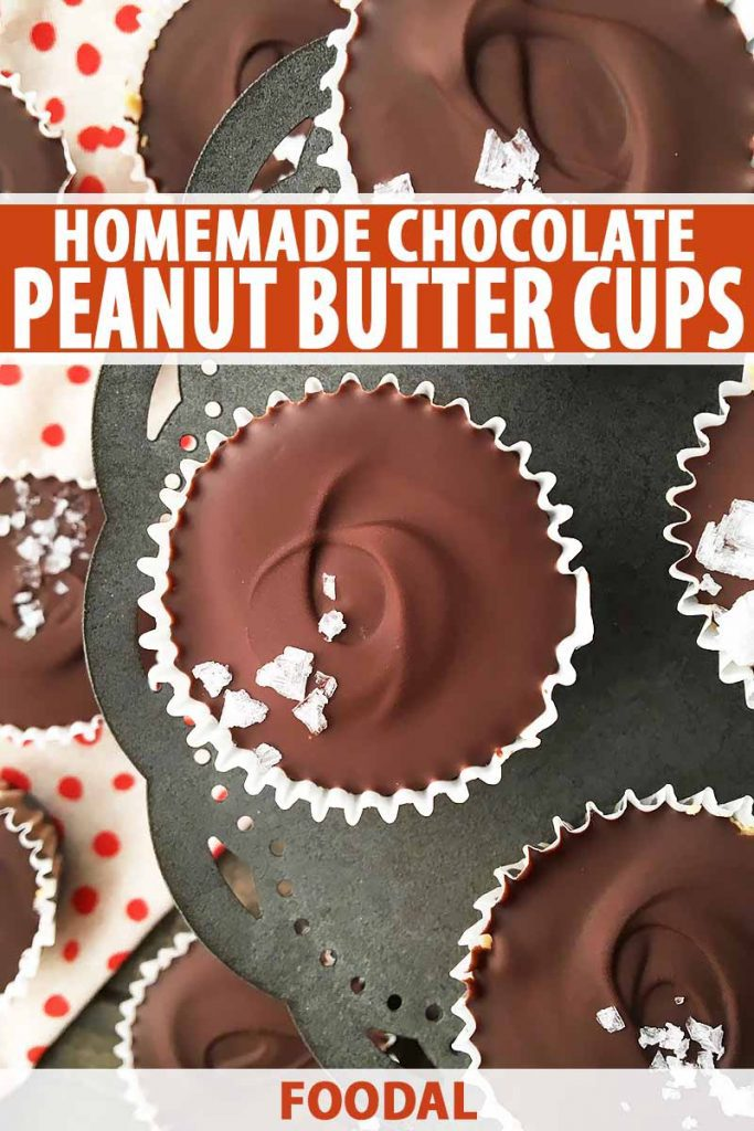 Vertical image of chocolate peanut butter cups and white text on an orange background.