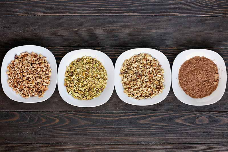 Overhead shot of four square ceramic dishes with rounded edges, filled with finely chopped hazelnuts, pistachios, walnuts, and cocoa powder, on a dark brown wood surface.