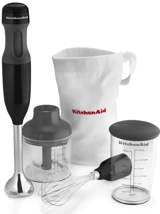 KitchenAid KHB2351OB 3-Speed Hand Blender Set in Onyx Black with all accessories on a white, isolated background.